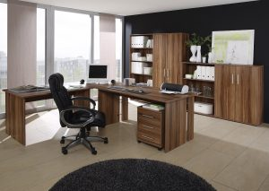 Büro Set Walnuß Nachbildung 8tlg. Arbeitszimmer Home-Office