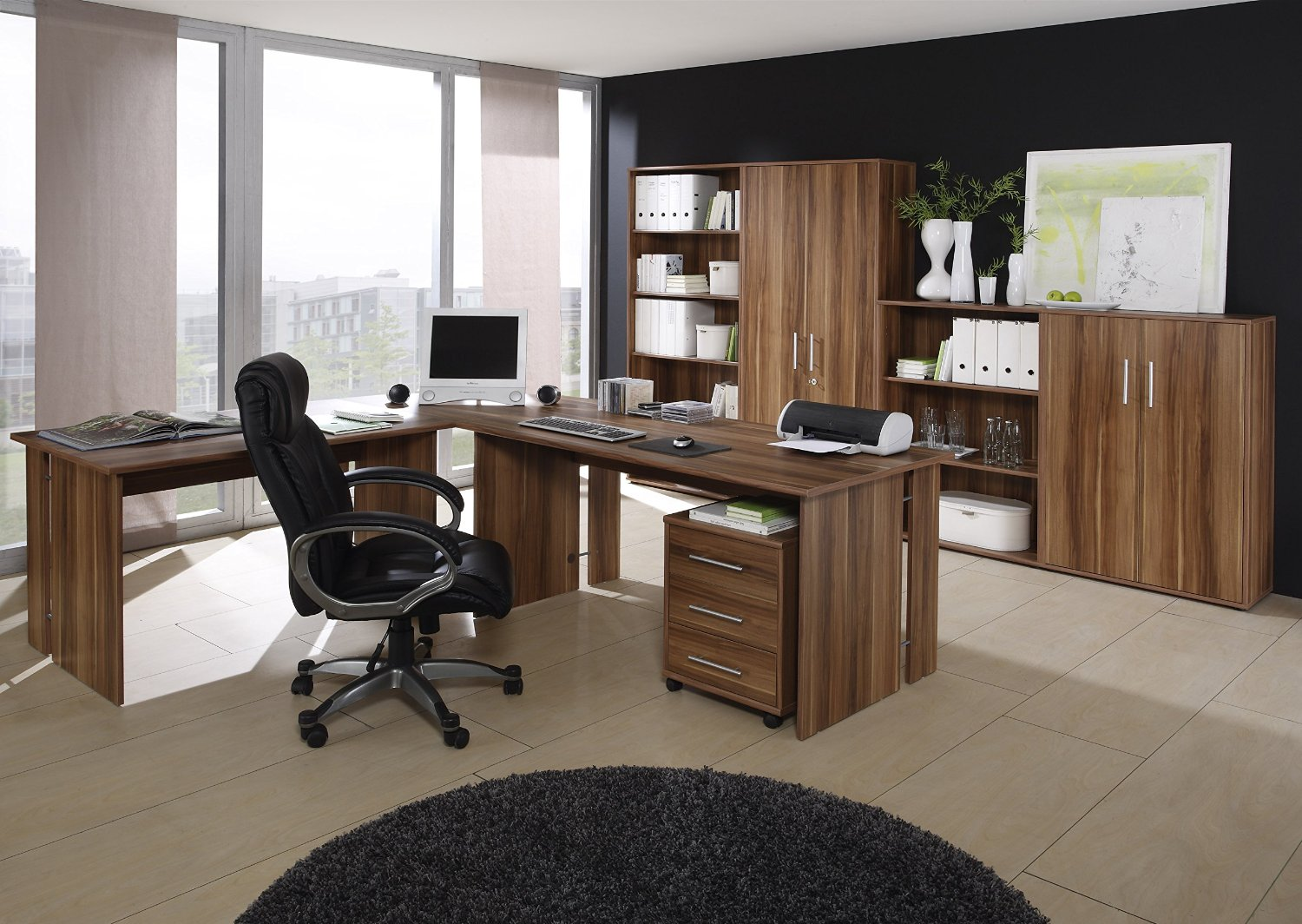 arbeitszimmer walnu nachbildung komplett preisg nstig sep. Black Bedroom Furniture Sets. Home Design Ideas